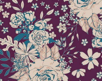 Art Gallery - Soulful Collection - Floral Universe in Plum