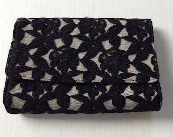 Neiman Marcus Black Lace Evening Bag