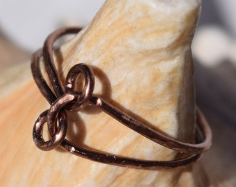 Antique Copper Double Loop Ring, Jewelry, Wire Ring, Midi Ring, Knuckleed Ring