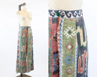 "70s High Rise Southwest Pants XS 26""  / 1970s Aztec Cotton Trousers / Coachella Pants"