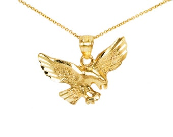 10k Yellow Gold Pendant for Pendant Necklace, 10k Gold Eagle Charm for Charm Necklace, Animal Jewelry Gold Birthday Gift, 10k Eagle Necklace