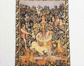 Miniature Medieval Tapestry Unicorn At The Fountain or  Licorne A La Fontaine in 1:24 or Dollhouse Scales