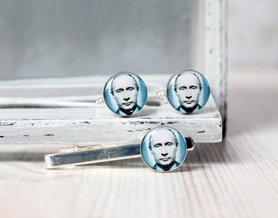 President Cuff links and Tie Clip - Russian Federation Design - Vladimir Putin cufflinks and Tie Clip