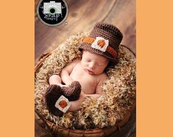 CROCHET PATTERN - Newborn Baby Pilgrim Hat - PATTERN