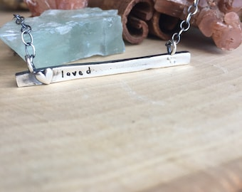 Sterling silver hand moulded heart Personalized bar necklace