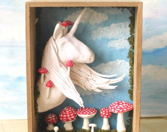 floating hair unicorn with mushrooms wooden box