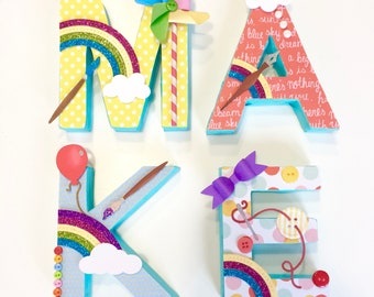 MAKE Letters, craft room wall art, studio, workshop