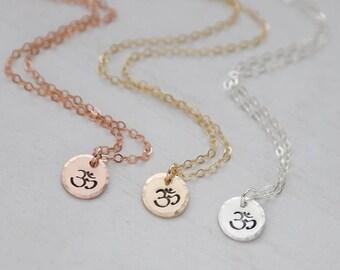 Tiny Om Necklace / Ohm Necklace / Gold Om Necklace / Gift for Yogi / Yoga Lover Gift / OM Chocker / OM Jewellery / Om Jewelry / Zen Necklace