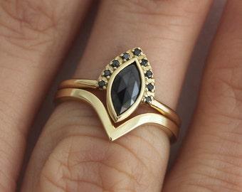 Black Diamond Ring Set, Wedding Ring Set, Diamond Engagement Ring Set, Set For Alternative Bride, 18k Yellow Gold Set