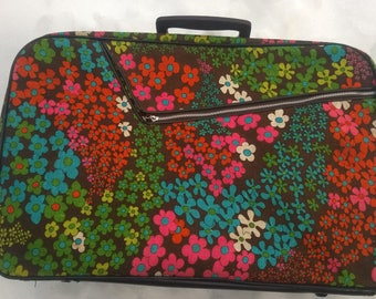 1970s Groovy Floral Suitcase Overnight Book Laptop Bag