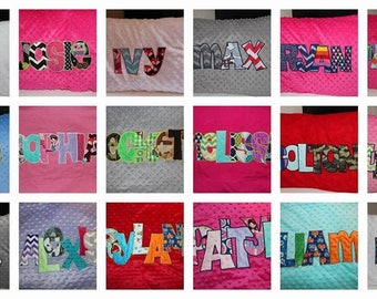 Personalized embroidered applique pillowcase. Minky, flannel, or cotton.