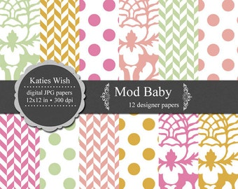 Mod Baby Digital Paper Kit 12x12 inch jpg files for Instant Download