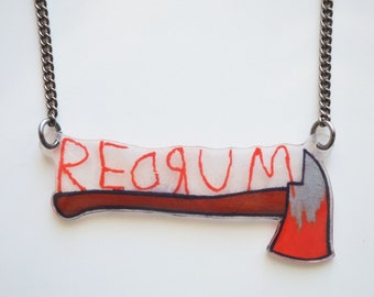 The Shining Inspired Necklace, Redrum, Horror Jewelry