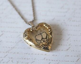 Vintage 12k Gold Filled Heart Repousse Locket, Gold Heart Locket, Vintage Locket