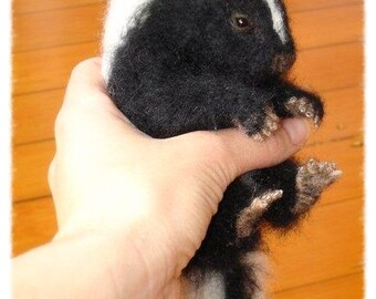 Ooak Needle Felted Baby Skunk