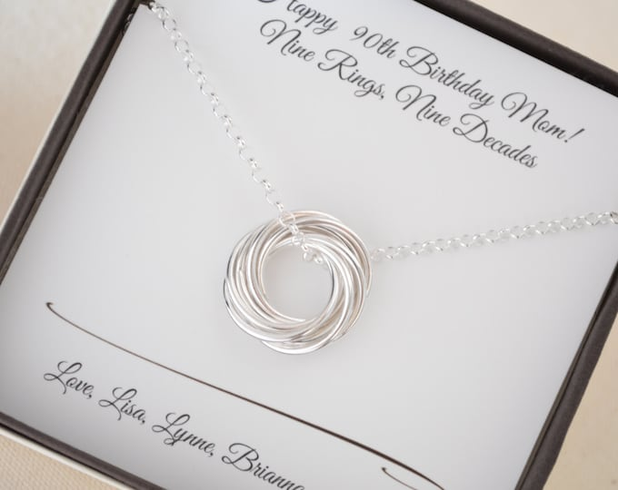 90th Birthday gift for mom, Gift for mother and grandmother necklace, 9th Anniversary, Jewelry for grandma and mom, Mom jewelry