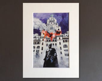 BATMAN wall art - giclee print of 'The Light Knight' painting by Stephen Mahoney - Liverpool-themed artwork inspired by The Dark Knight