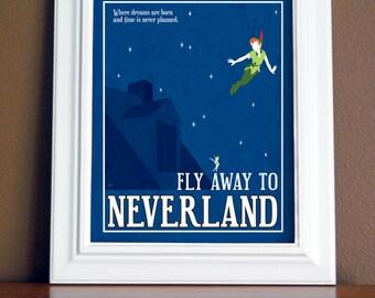 Neverland Travel Poster 16x20