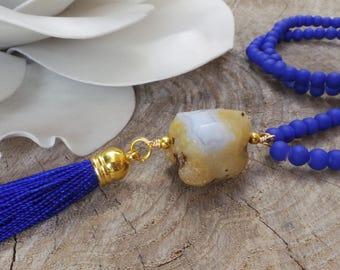 Blue necklace.Blue  tassel necklace. Blue beaded necklace.  Blue lace agate gemstone necklace. Bohemian tassel necklace.