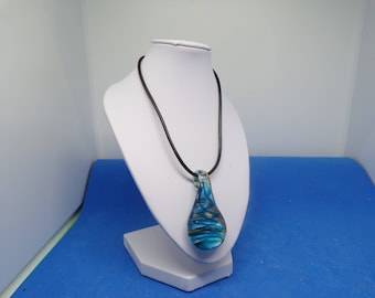 Black waxed cord with blue glass pendant necklace