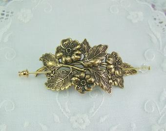 Shawl Pin, Scarf Pin, Sweater Pin, Flower Shawl Pin, Flower Scarf Pin, Crystal Stick Pin, Flower Bouquet, Bronze Flower Pin, Flower Pin