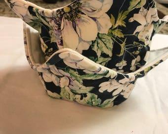 Navy floral print soup bowl cozy; set of 2