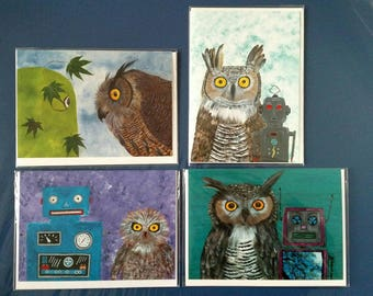 Owls & Robots - cog #2 - set of 4 blank notecards with envelopes