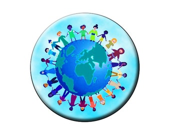 "EARTH DAY celebration ~ children join hands round the world pin. High-quality large 2.25"" pin-back button"