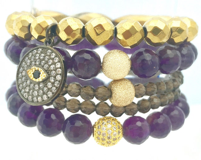 Stack Beaded Gemstone Bracelets - Amethyst - Hematite and Smokey Quartz - Fall Gemstone Bracelets - Girlfriend Gift - Holiday Gift for Her