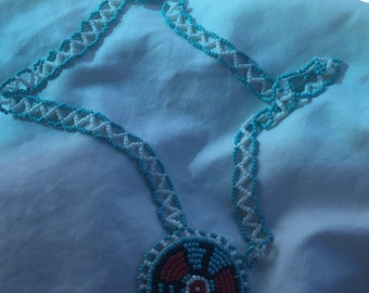 Vintage Native American Glass Beaded Necklace