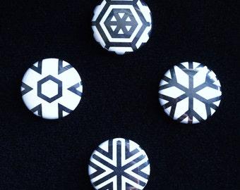 Hex Optic minis – Mini badge Quad set featuring op-art geometry