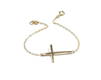 Skinny Sideways Cross Bracelet,  14kt gold filled, Celebrity Inspired