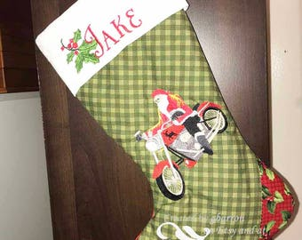 Santa on his Harley Christmas Stocking -- cute, personalized, custom made, unique, motorcycle