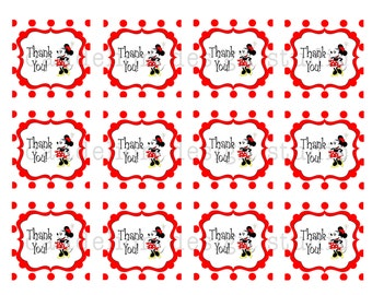 PRINTABLE Favor Tags - Retro Minnie Mouse Party Collection - Dandelion Design Studio