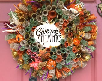 Autumn wreath, Fall wreath, Thanksgiving wreath, Thanksgiving, Front door thanksgiving wreath, Home wreath,