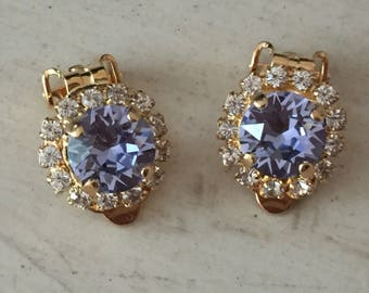 Provence Lavender Swarovski Crystal Clip On Earrings, Yellow Gold