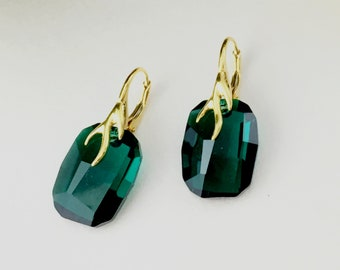 24K Gold Plated Sterling Silver Earrings, Emerald Swarovski Crystal Earrings, Gift for Her, Birthday , Anniversary Jewellery