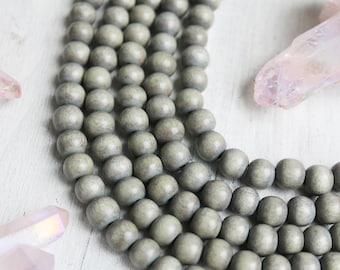 4mm gray wood, gray wood beads, round beads, rustic beads, rustic wood, rustic gray, earthy beads, full strand,
