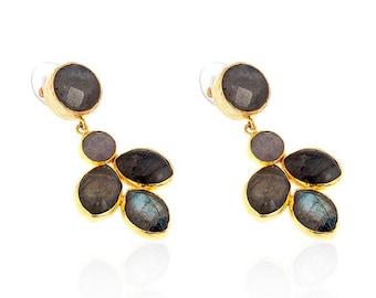 Grey leaves of labradorite stones Earrings, long earrings, statement earrings, gemstone earrings, labradorite earrings, evening wear, silver