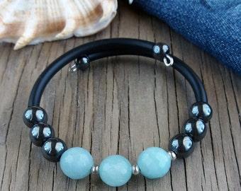 Cuff bracelet Stone bracelet Hematite aquamarine bracelet Aquamarine jewelry Gemstone bracelet Gift for her Blue black bracelet Jewelry cuff