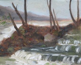 Lake Sequoyah Waterfall - Original Oil Painting