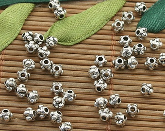 400pcs dark silver tone daisy flower spacer beads h3728