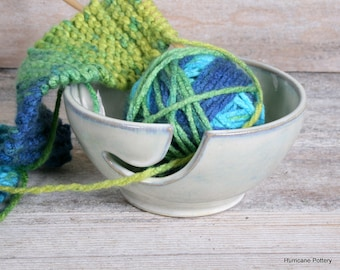 White Yarn Bowl. Handmade Ceramic Pottery.Crystalline Glaze. Crochet Bowl. Yarn Holder.