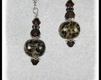 Animal print lampwork glass earrings, brown and black earrings, mocca crystals, animal print lampwork beads