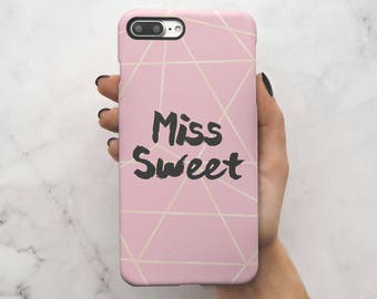 Best Friends Miss Sweet Matching Case Gift For Bestfriend Girlfriend Protective Hard Case Cover For iPhone 7 iPhone 8 & Samsung | C92
