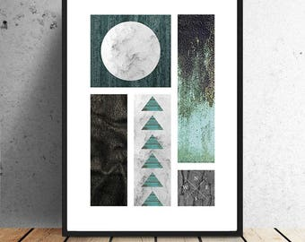 Poster, black & green, collage, graphic, abstract, illustration, wall decoration, interior, textures