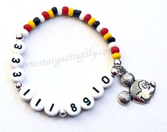 Mouse charm bracelets Personalized Name Bracelet for BOYS & GIRLS phone number bracelet cell phone number ICE Allergy info Medical Alert