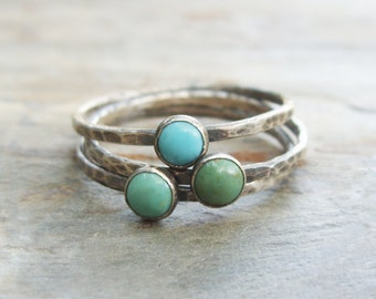 Trio of Rustic Turquoise Stacking Rings in Antiqued Sterling Silver - Kingman Arizona Turquoise
