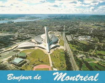 Vintage 1980s Postcard Montreal Quebec QC Canada Stade Olympique Olympic Stadium City Aerial View Card Photochrome Postally Unused