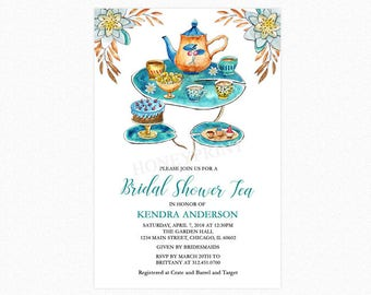 Tea Bridal Shower Invitation, Bridal Shower Tea Invitation, Watercolor Flowers, Personalized, Printable and Printed